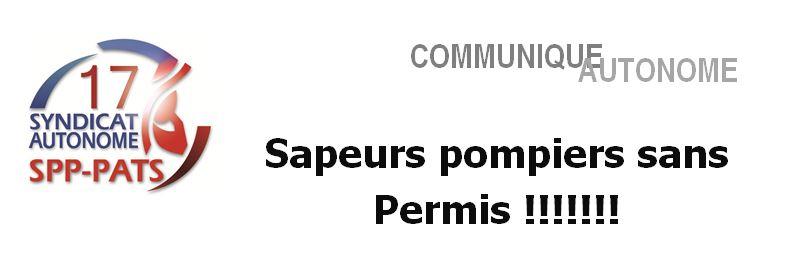 SA 17 - communique sapeurs pompiers sans permis