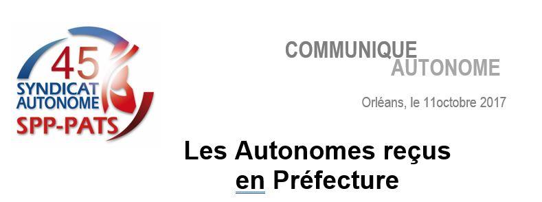 SA 45 - LES AUTONOMES RECUS EN PREFECTURE