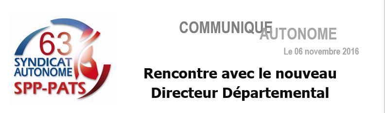 SA 63 -- RENCONTRE NOUVEAU DIRECTEUR