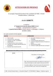 attestation de présence GORETTI André Congrès Namur